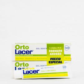 OrtoLacer Gel Dentifrico Duplo, 2x75ml.