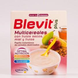 Blevit plus Multicereales con frutos secos, miel y frutas, 600g.